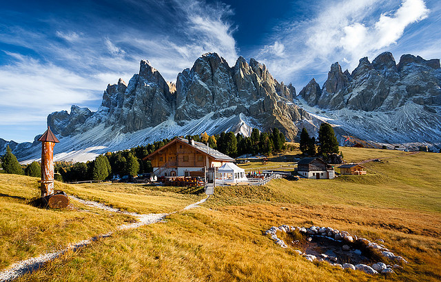 by Christof Simon on Flickr.Alpine hut in South Tyrol Dolomites, Italy.