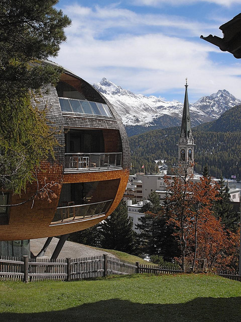 Chesa Futura apartments designed by architect Norman Foster in St. Moritz, Switzerland