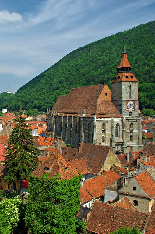 The Black Church , the most impressive gothic monument in Braşov, Transylvania, Romania.