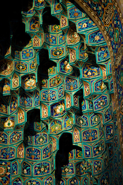 Blue tiles on the facade of the St. Petersburg Mosque, Russia