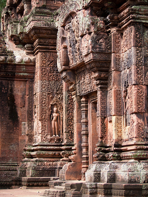 Columns of Banteay Srei Temple in Siem Reap, Cambodia