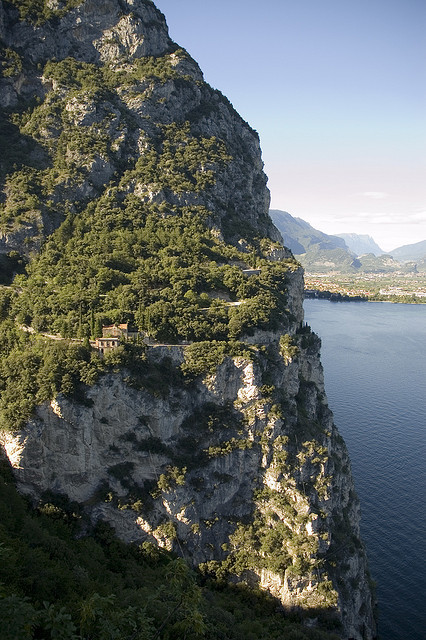 """View towards the old road from Pregasina to Riva del Garda, setting for a car chase in the movie """"Quantum of Solace"""", Italy"""