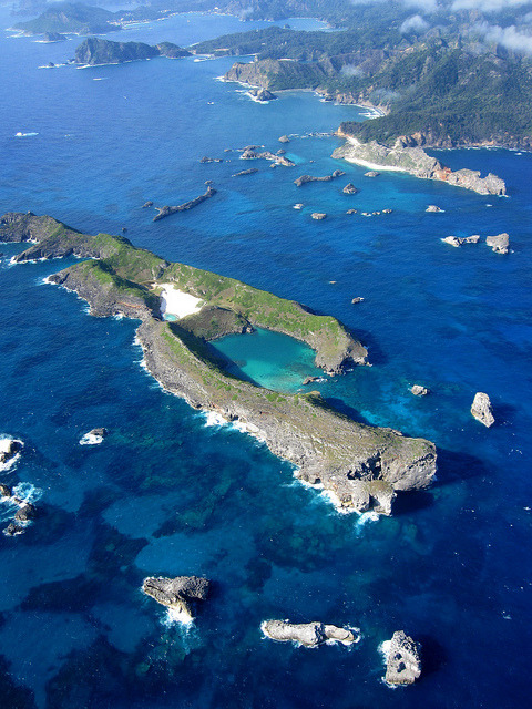 Aerial view of Ogasawara Islands, Japan
