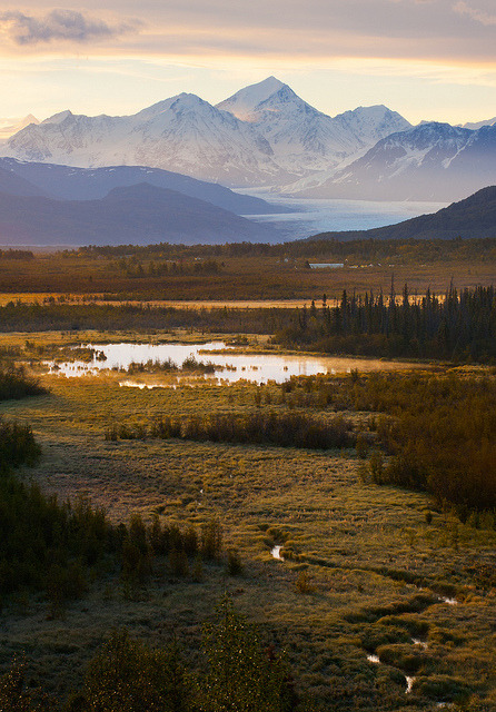 Sunrise along the Knik River, Alaska, USA