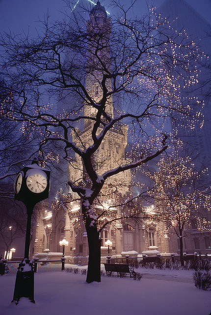 Snowy Night, Watertower Place, Chicago, Illinois