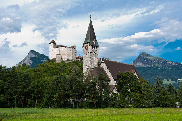 Gutenberg Castle and church in Balzers, Liechtenstein.