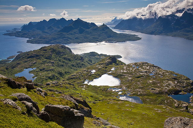 by henrikj on Flickr.From Digerkollen, towards Oyhellsun and Ulvagsunder, Lofoten Islands, Norway.