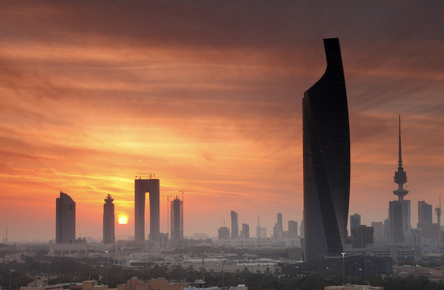 by Saleh AlRashaid  on Flickr.Misty sunset in Kuwait City.