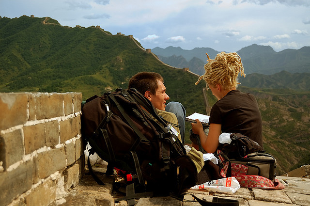 by hanan bercu on Flickr.Writing in journey diary on The Great Wall of China.