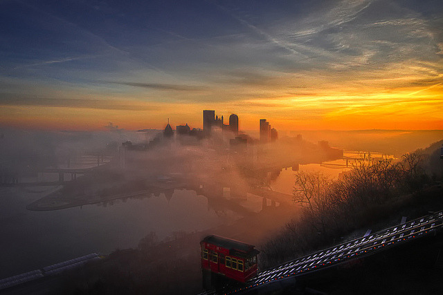 by Z!@ on Flickr.Pittsburgh skyline in a foggy morning, Pennsylvania, USA.