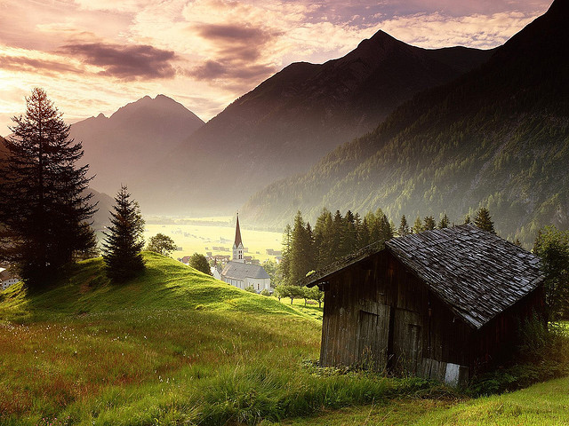 Misty mountain village in Tyrol, Austria