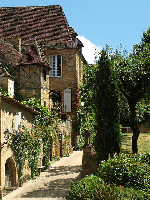 A quarter timber house in the beautiful medieval town of Sarlat, Dordogne, France