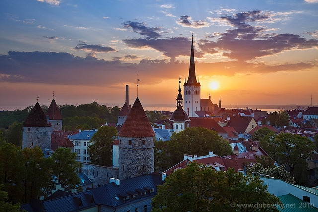 Sunrise over Tallinn Lower Town, Estonia