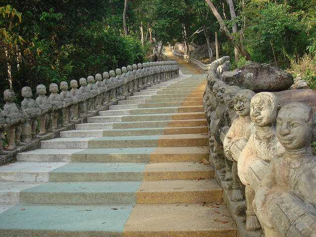 Stairs to Phnom Suntok temple in Kompong Thom, Cambodia
