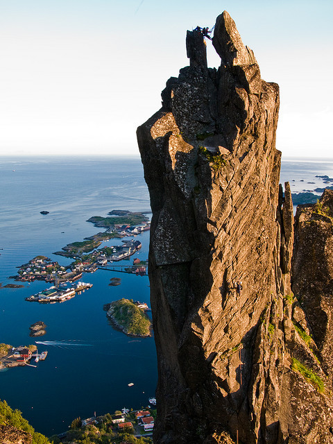 Climbing on Svolvaergeita, Lofoten Islands, Norway