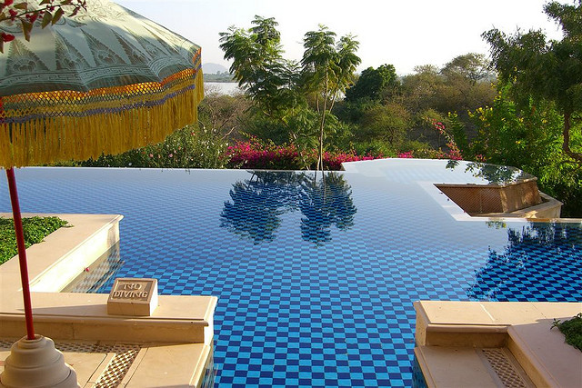 Pools of Oberoi Udaivilas Resort in Udaipur, India