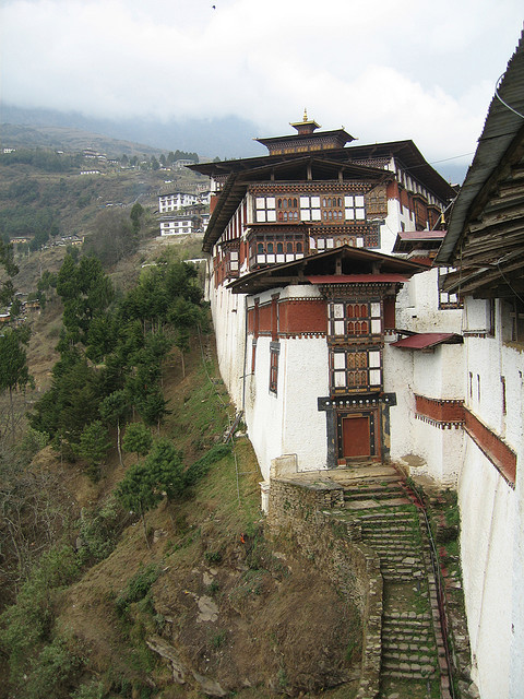 Looking north along the outer edge of Trongsa dzong, Bhutan