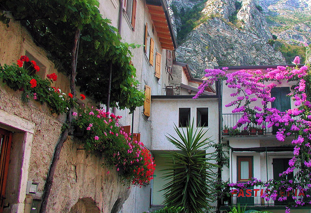 Buildings in Limone, a small town on Garda Lake, Italy