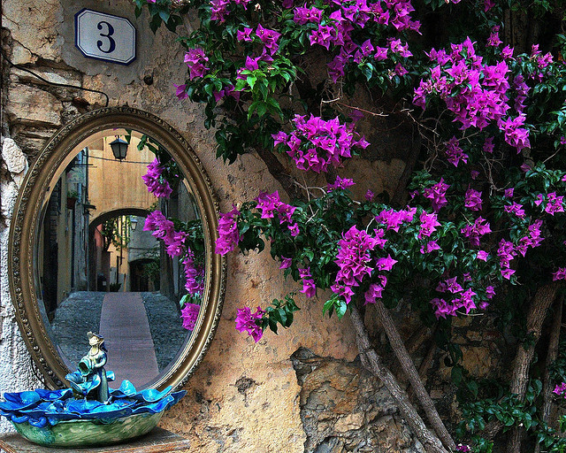 Mirror on the wall, streets of Cervo, Liguria, Italy