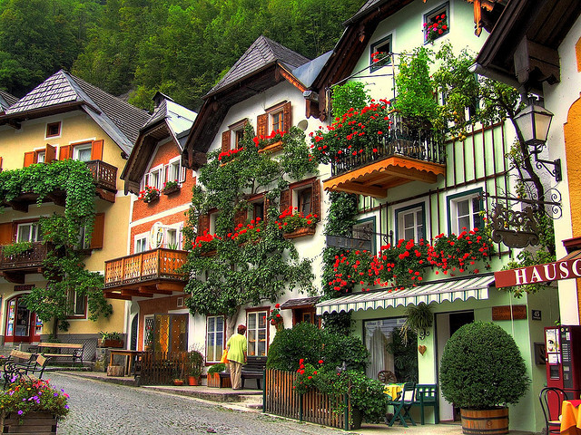 Beautiful houses in Hallstatt, Salzkammergut, Austria