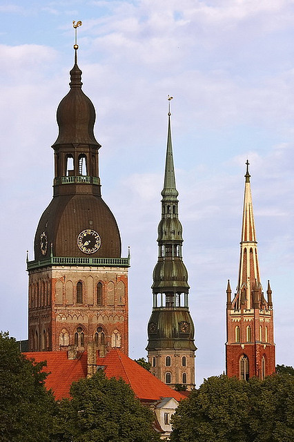 The towers of Riga, Latvia