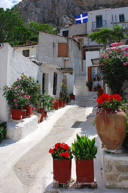 Plaka District at the base of Acropolis, Athens, Greece