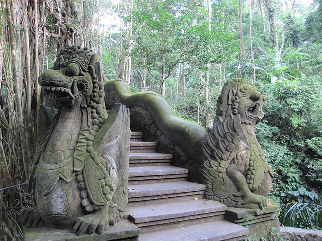 Dragon steps in Sacred Monkey Forest Sanctuary, Bali, Indonesia