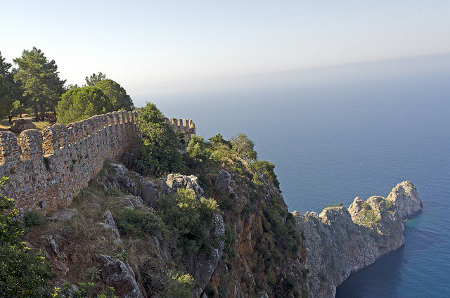 Mediterranean view from the old castle in Alanya, Turkey