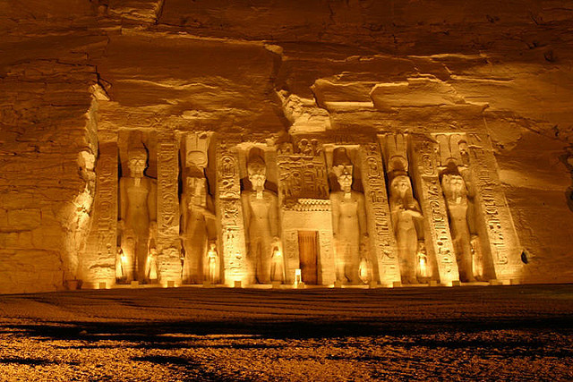 Temple of Nefertari at night, Abu Simbel, Egypt