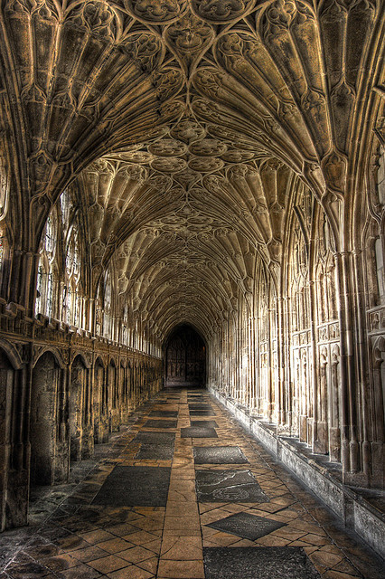 Gloucester Cathedral cloister, used extensively in the Harry Potter film series, England