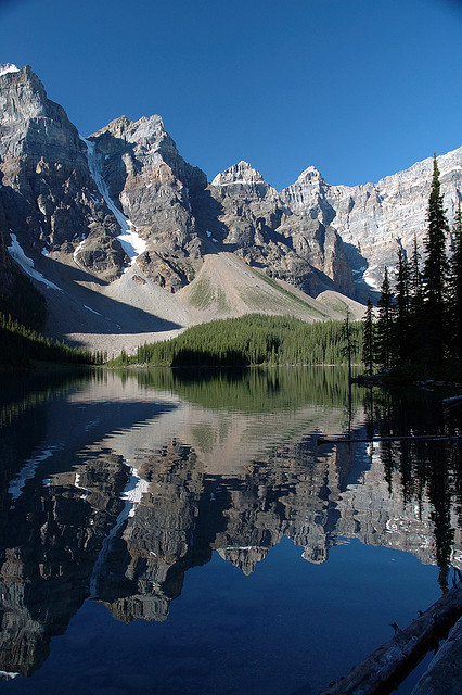 Reflections at Moraine Lake in Banff National Park, Canada