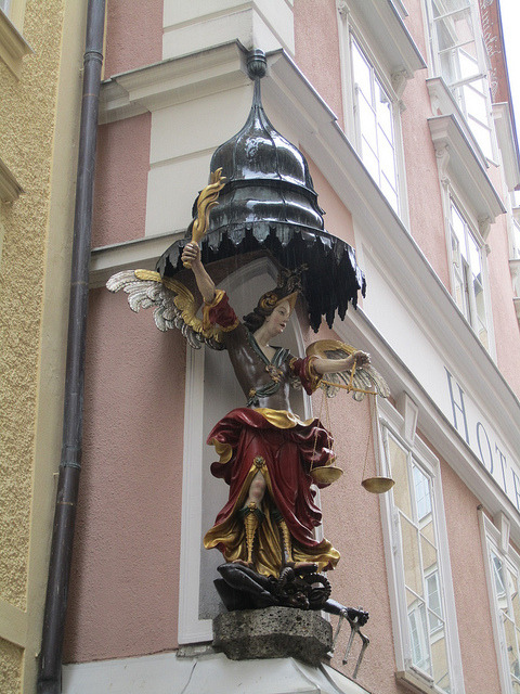 Corner sculpture on Hotel Altstadt in Salzburg, Austria