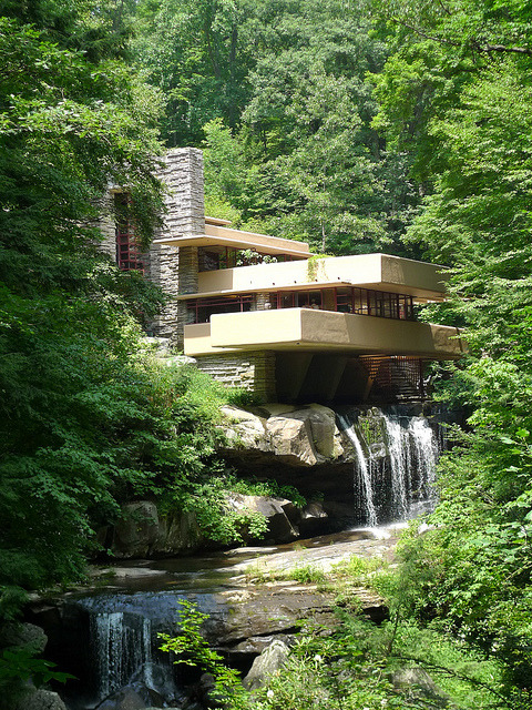 Fallingwater Residence, a house designed by architect Frank Lloyd Wright in rural southwestern Pennsylvania, USA