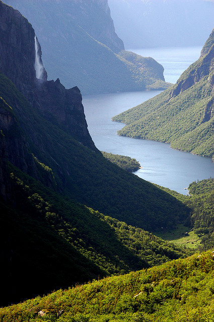 View from the top of Western Brook Pond Gorge in Gros Morne National Park, Newfoundland, Canada