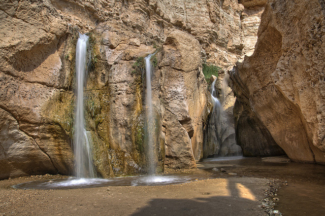 Waterfalls in a oasis in the southern desert of Tunisia