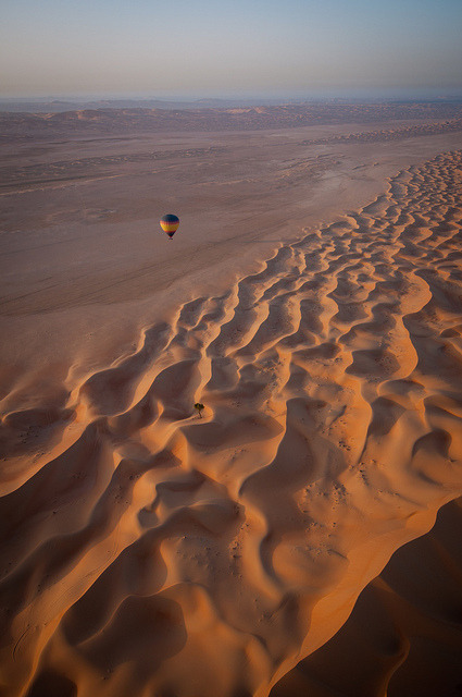 Floating over sand dunes, Rub' al Khali Desert, United Arab Emirates