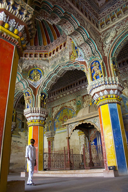 Interior of Thanjavur Maratha Palace in Tanjore, India