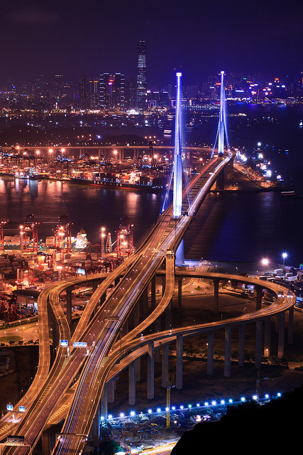 The night scene of Stonecutters Bridge, from Tsing Yi Peak, Hong Kong