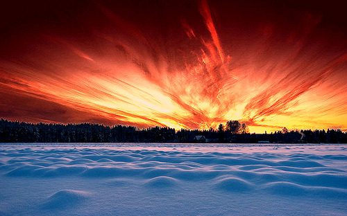 Frozen Lake Sunset, Finland