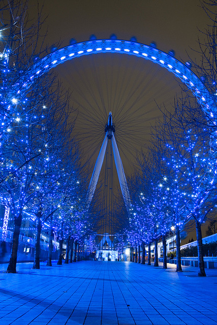 Blue nights, London, England