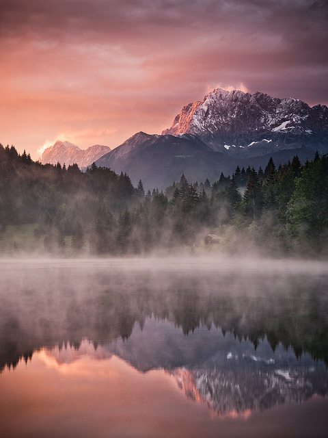 Misty morning in the Bavarian Alps, Germany