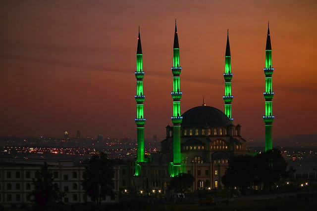 The minarets of Nizamiye Masjid glowing in the night, the largest mosque in southern hemisphere, Johannesburg, South Africa