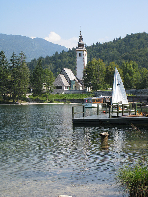 Church on the shores of Lake Bohinj, Slovenia