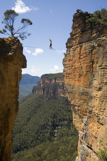 Walking on the Hanging Rock highline, Blue Mountains, Australia
