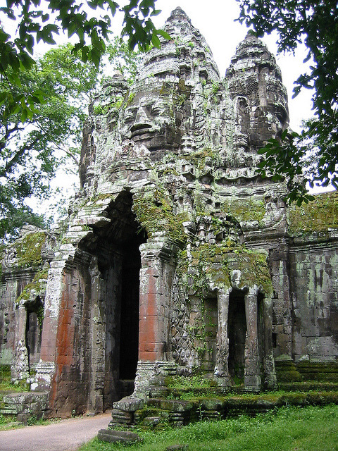 The north gate to Angkor Thom Temple, Cambodia