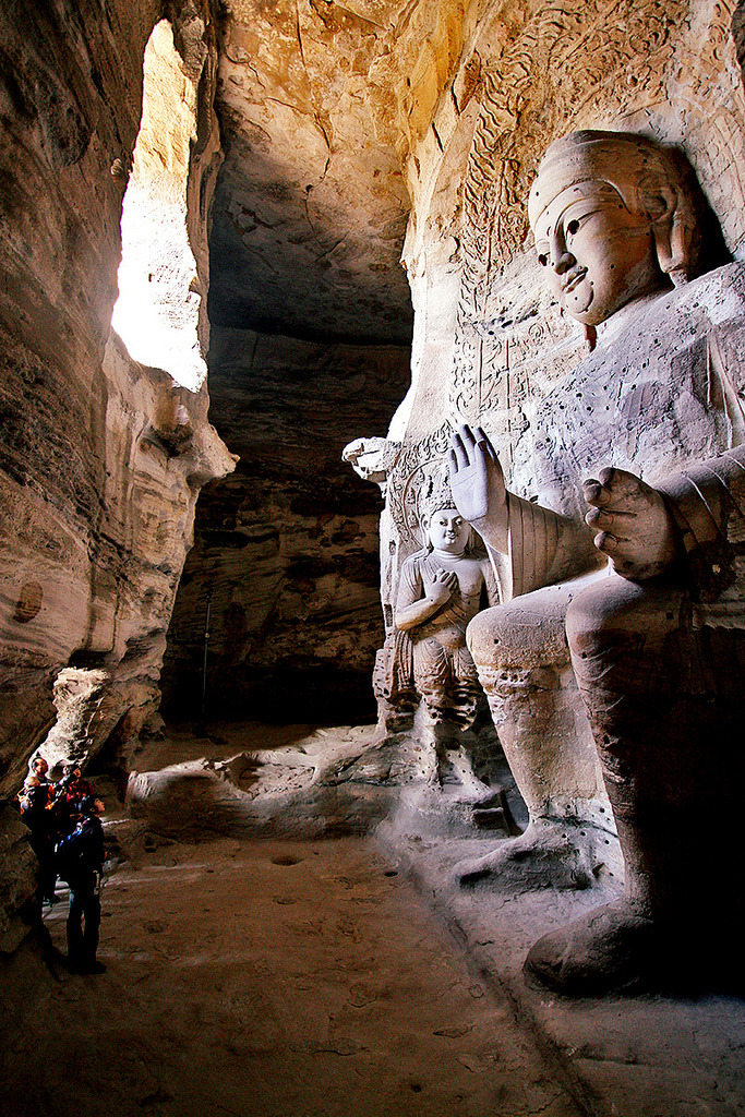 Giant Buddha statue inside the Yungang Caves, China