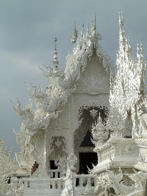 Details of the white temple, Wat Rong Khun in northern Thailand