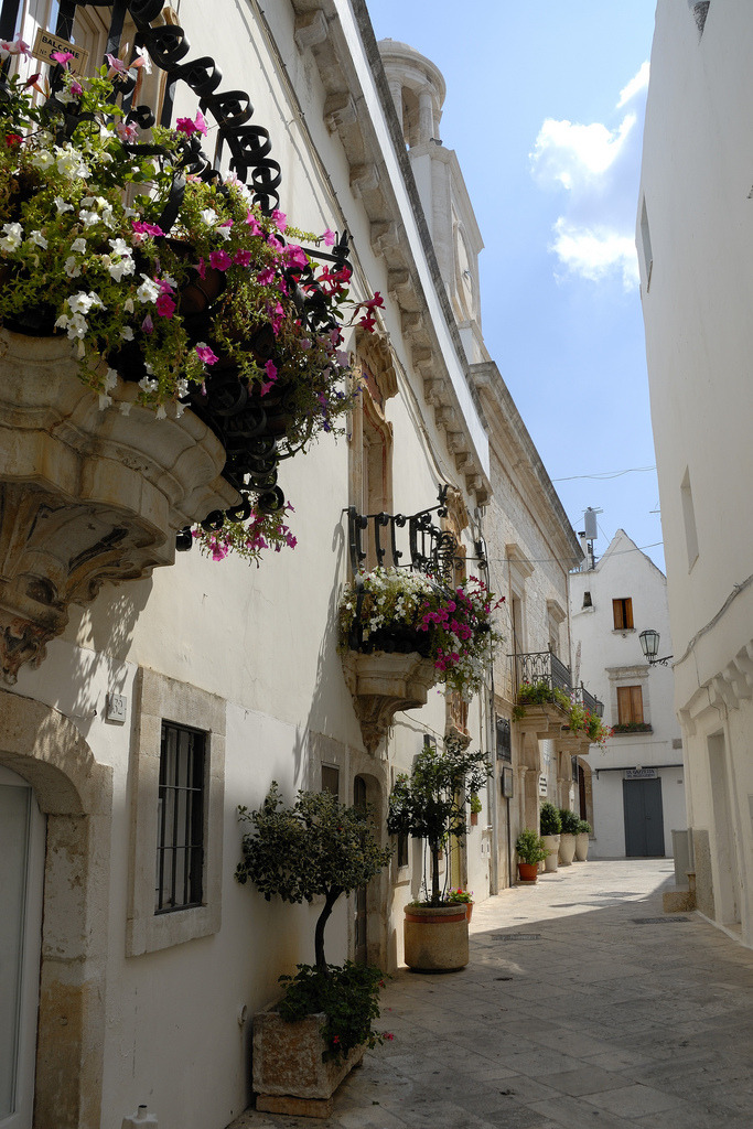 White streets of Locorotondo in Puglia, Italy