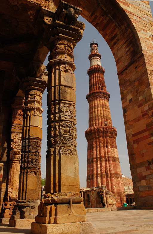 Qutub Minar, the tallest minaret built in bricks in the world in Delhi, India