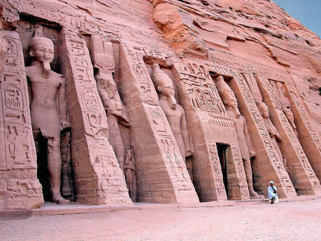 The rock-cut Temple of Hathor in Abu Simbel, Egypt
